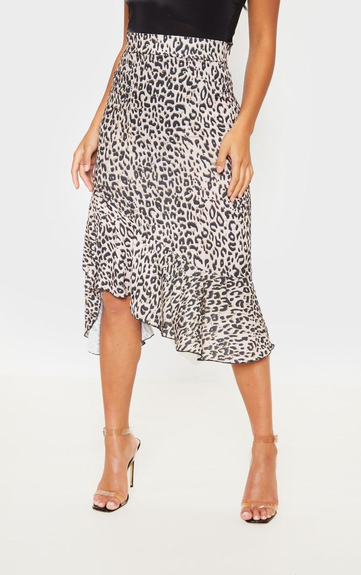 Petite Tan Leopard Ruffle Detail Midi Skirt  2