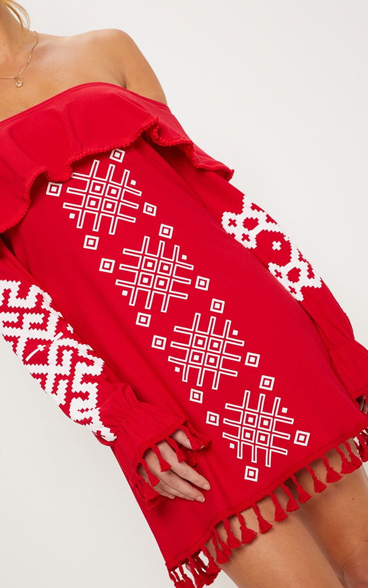 Red Bardot Tassel Detail Printed Shift Dress 5