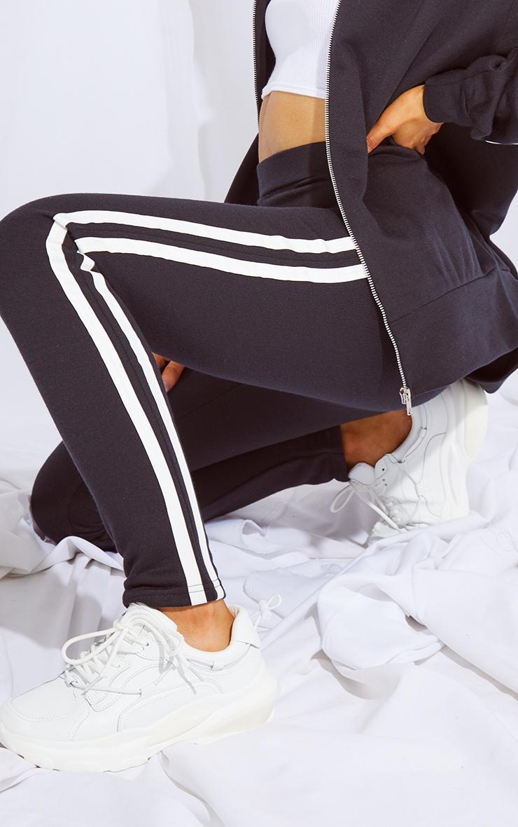 Black Double Side Stripe Skinny Joggers 4