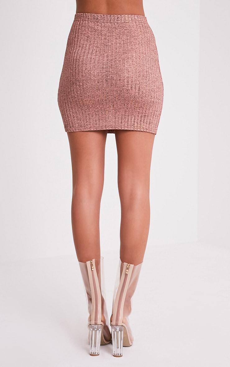 Kristine Rose Gold Ribbed Mini Skirt 5