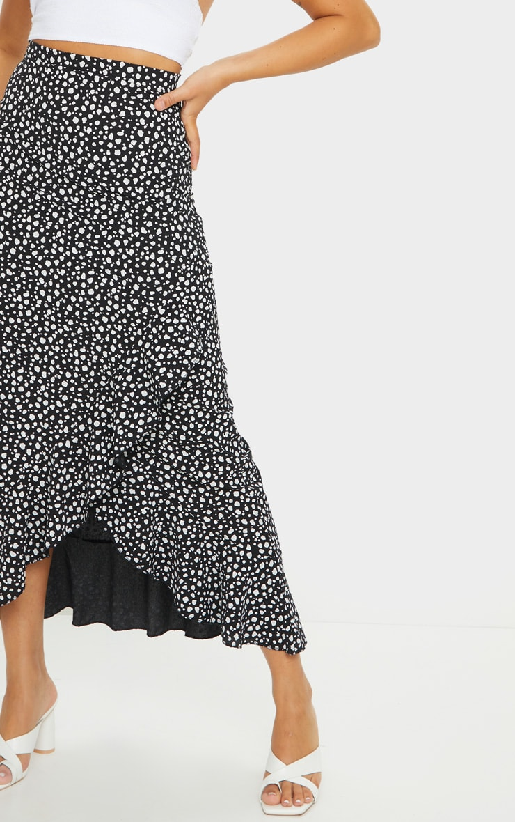 Black Dalmation Print Woven Frill Hem Midi Skirt 4