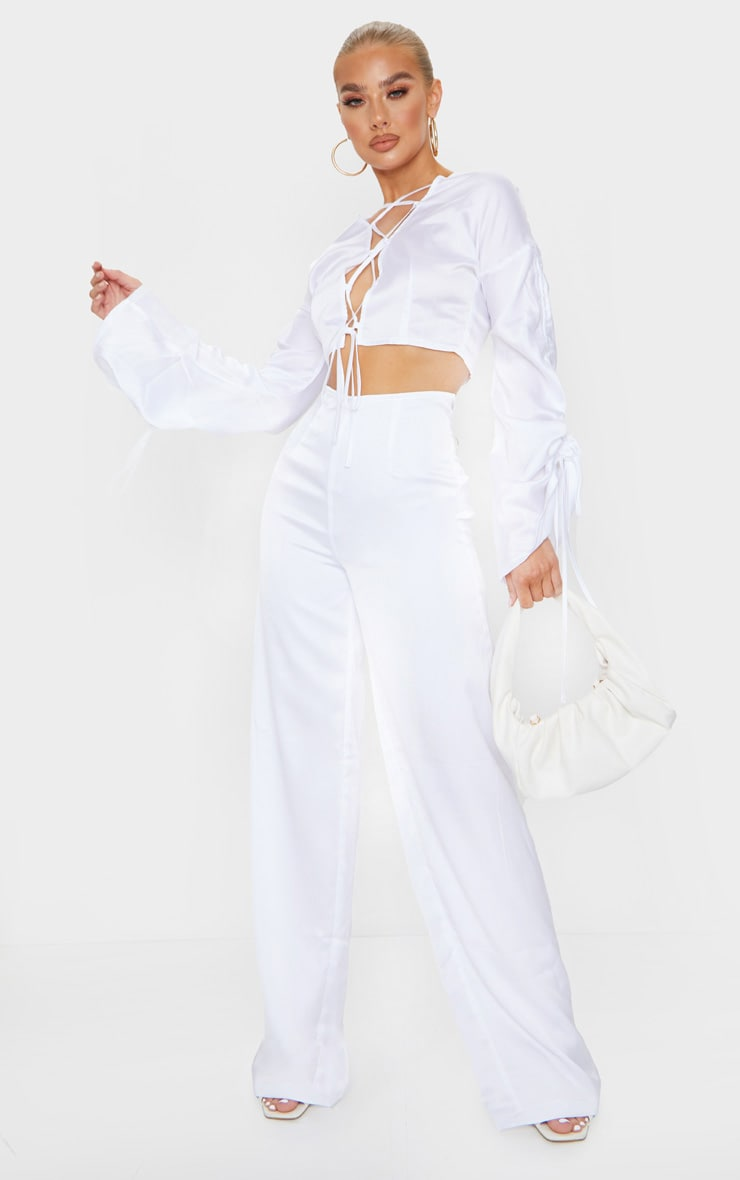 White Satin Wide Leg Pants 1