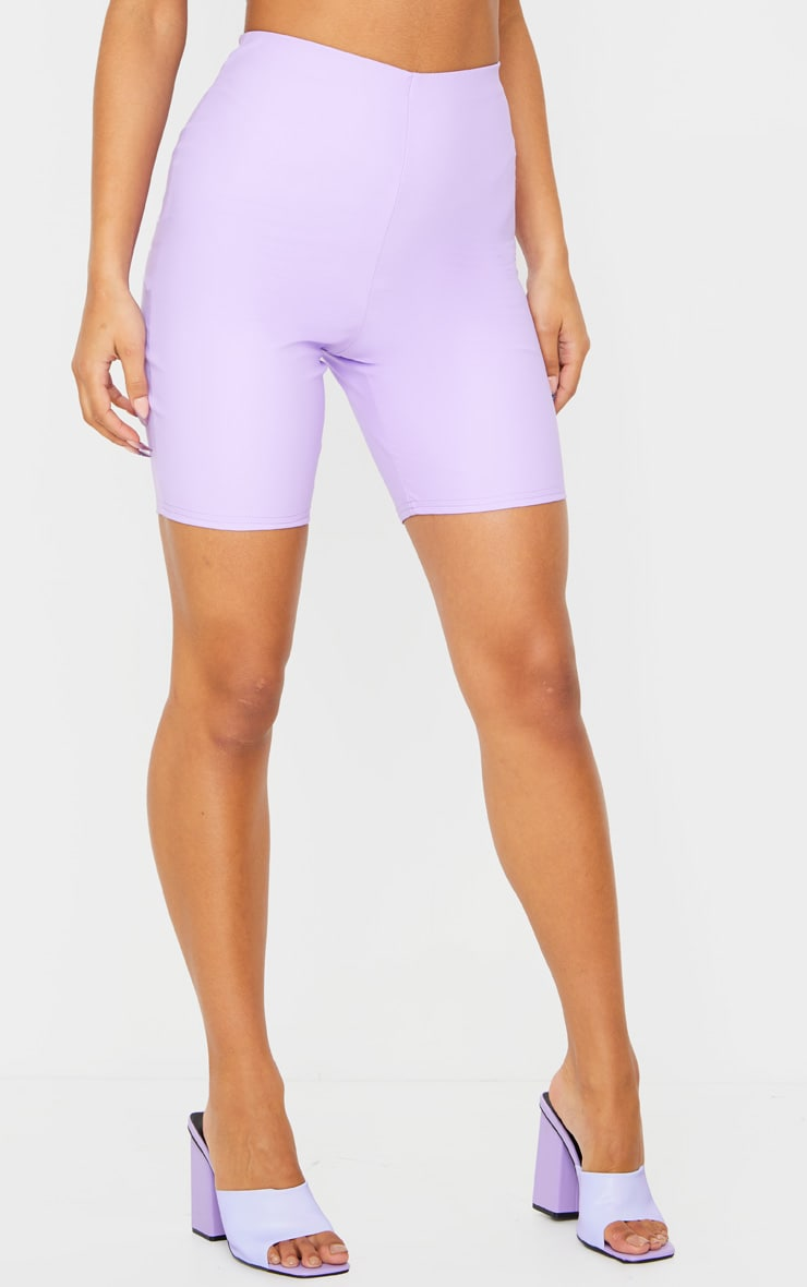 Lilac Faux Leather Bike Shorts 2