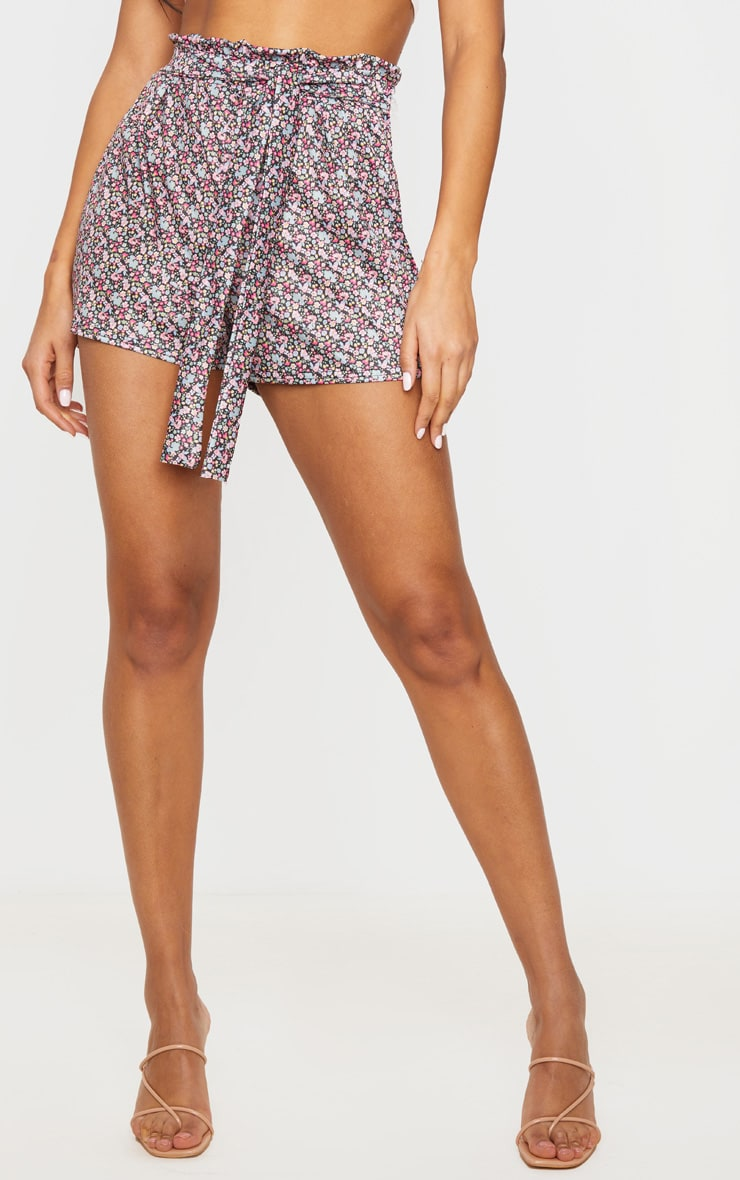 Black Ditsy Ruched Floral Tie Waist Shorts 2