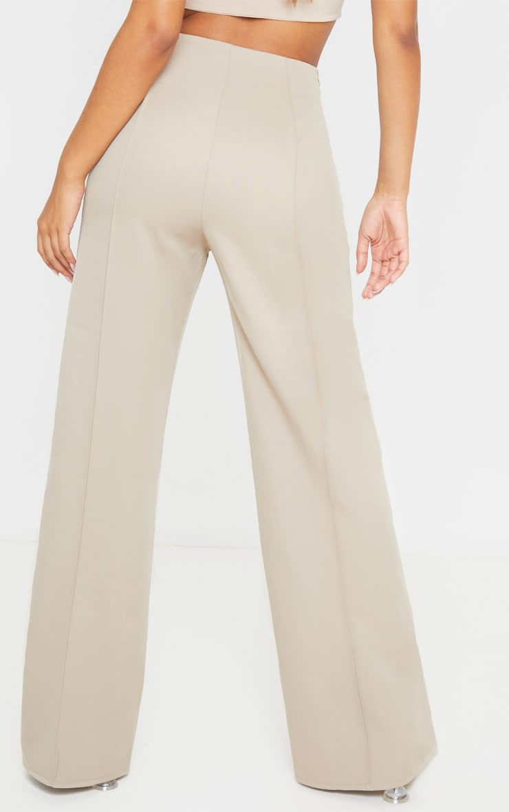 Taupe High Waisted Seam Detail Wide Leg Trouser 4