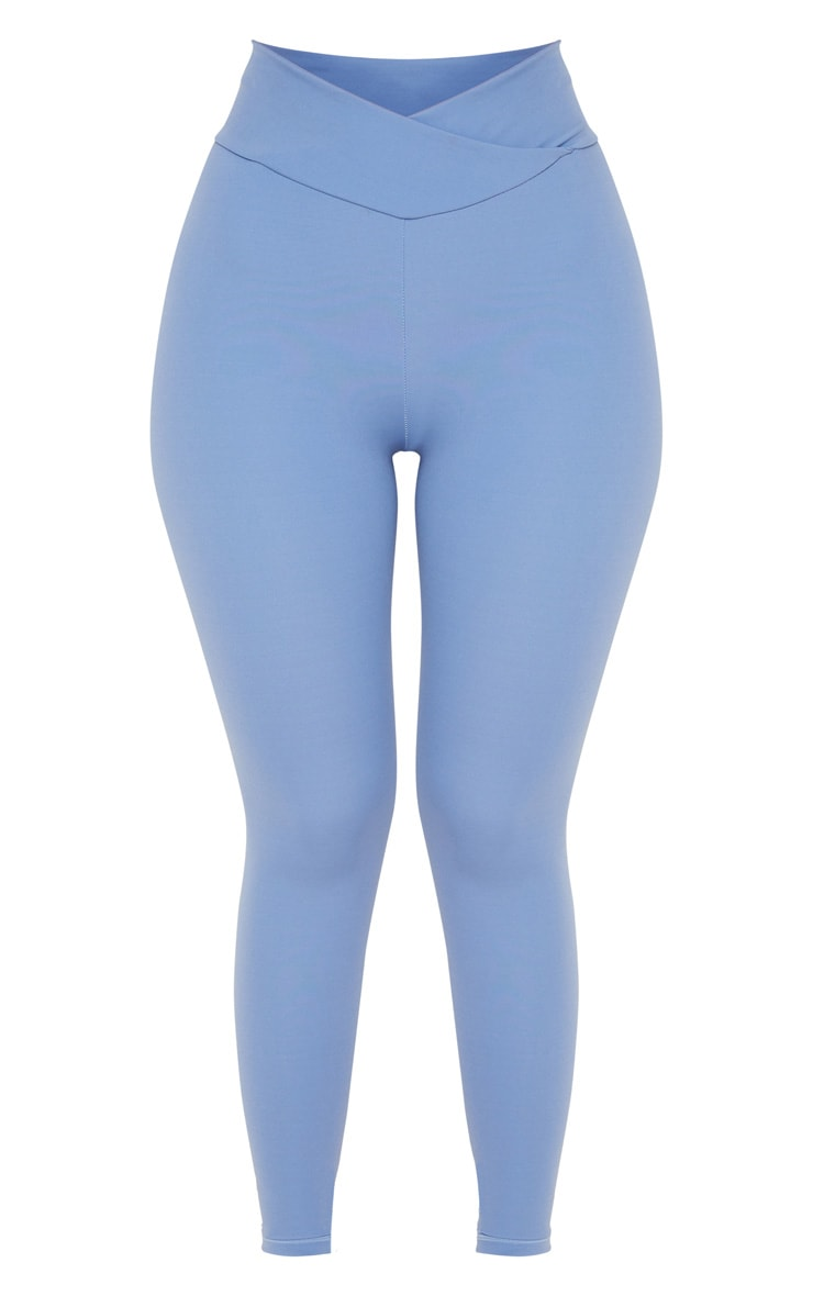 Dusky Blue Cross Waist Ruched Bum Gym Legging 5