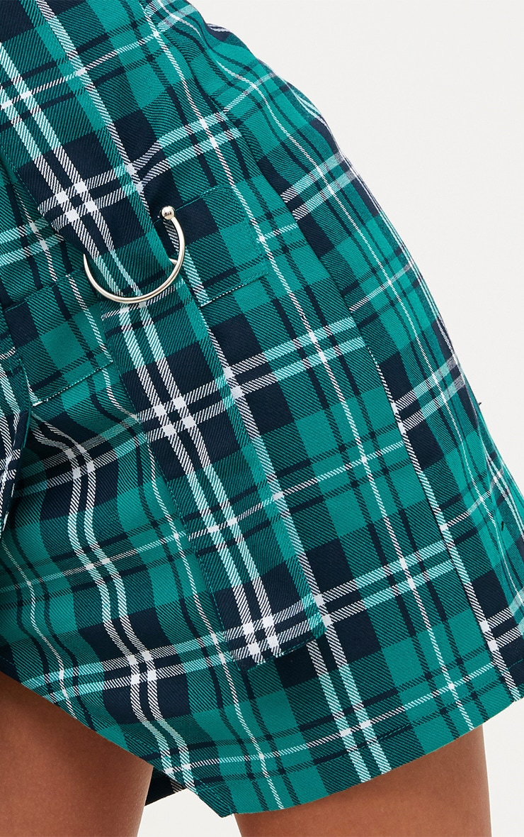Green Check Ring Detail Mini Skirt 6