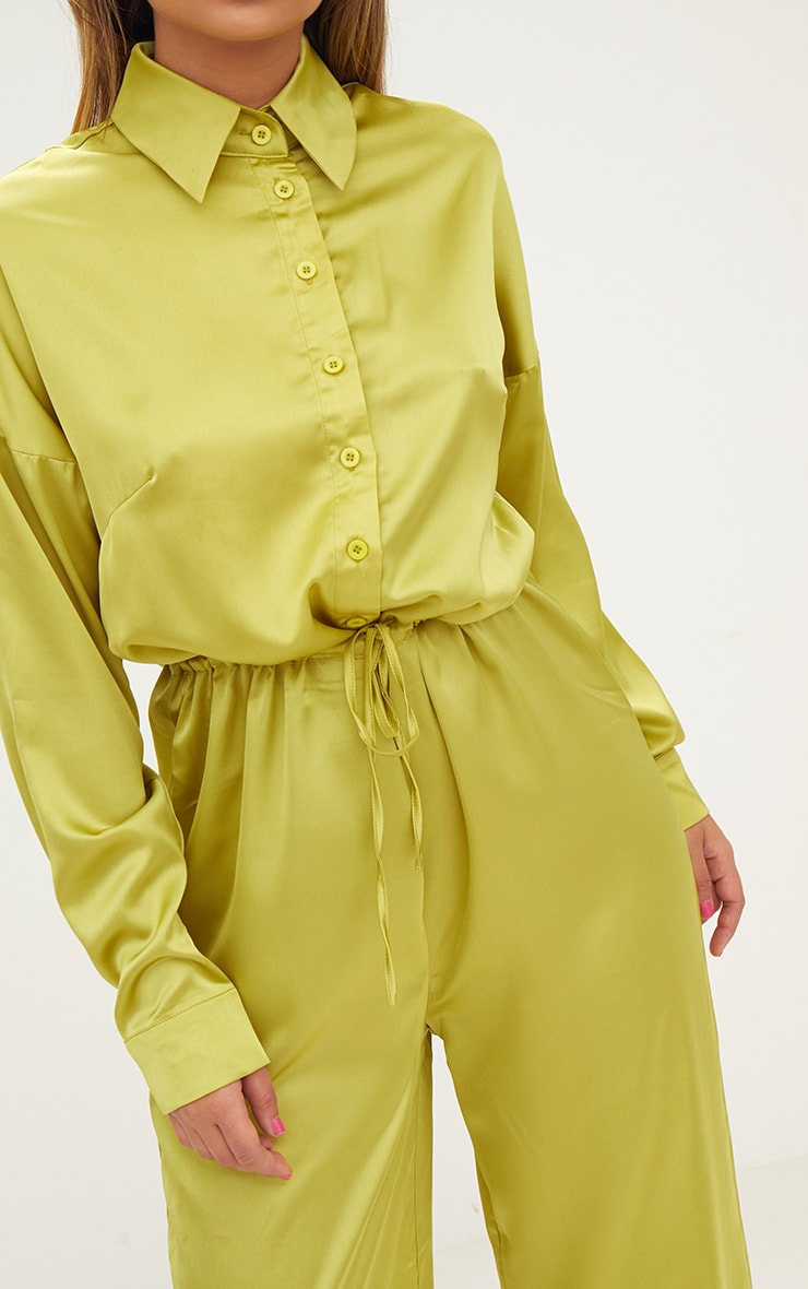 Lime Extreme Oversized Satin Wide Leg Jumpsuit  5