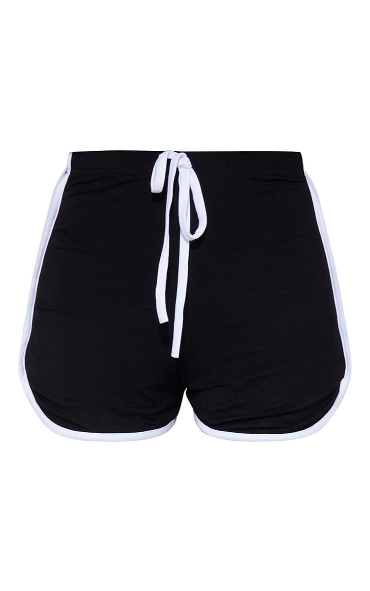 Black Double Side Stripe Runner Short 6