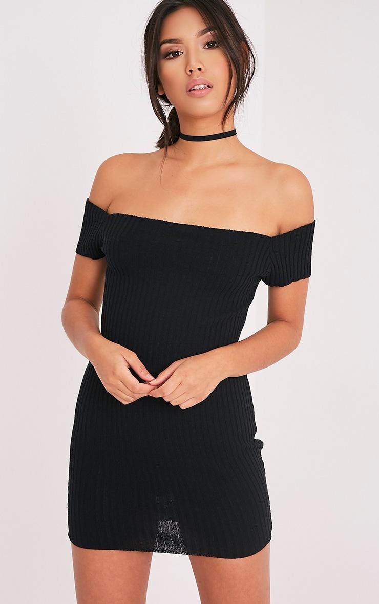 Jordi robe mini bardot noire tricotée et côtelée 1