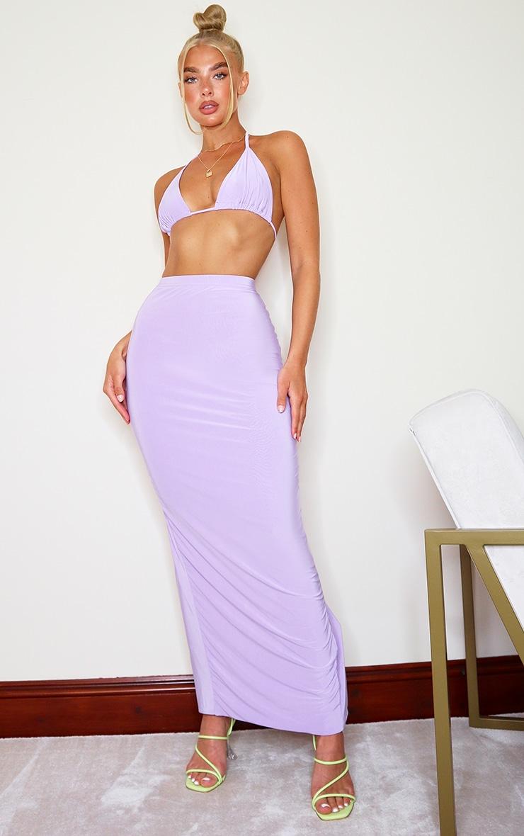 Jupe longue slinky lilas fendue à l'arrière 1