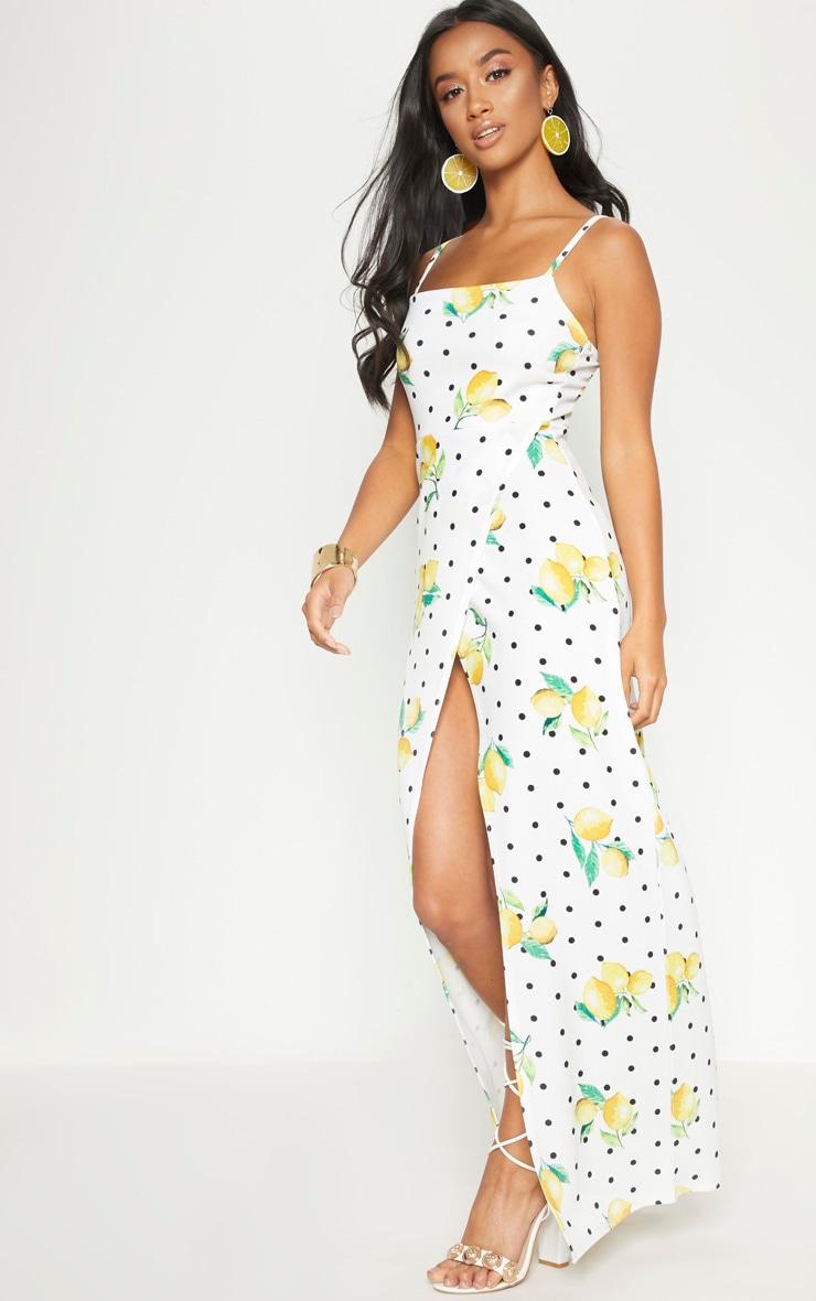 Petite White Polka Dot Lemon Print  Wrap Maxi Dress 4