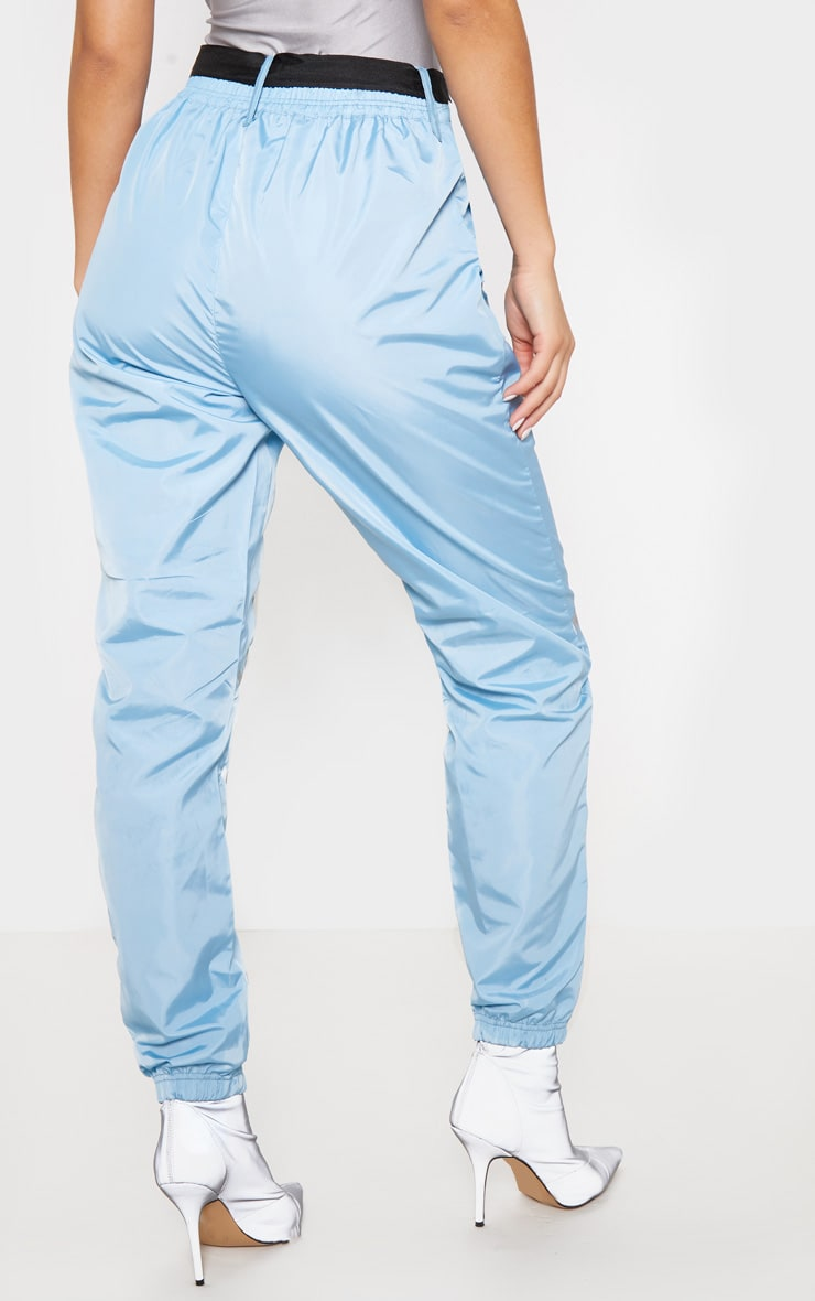 Dusty Blue Shell Reflective Tape Belt Detail Jogger 4