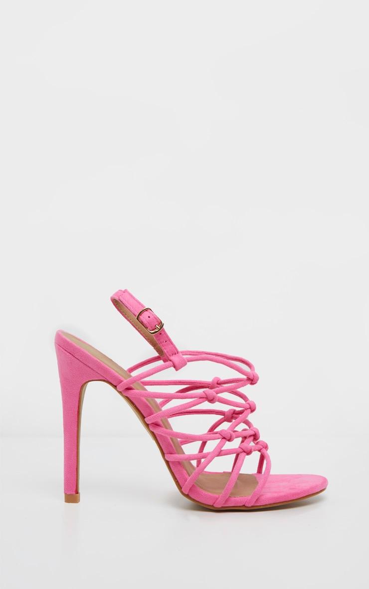 efa14f4ea4 Fuschia Strappy Knot Heeled Sandal | Shoes | PrettyLittleThing USA