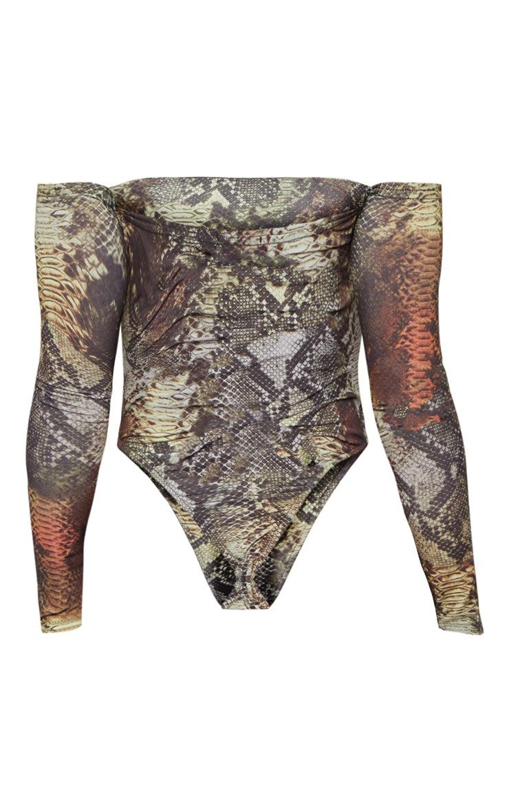 Black Slinky Snake Print Bardot Long Sleeve Thong Bodysuit 4