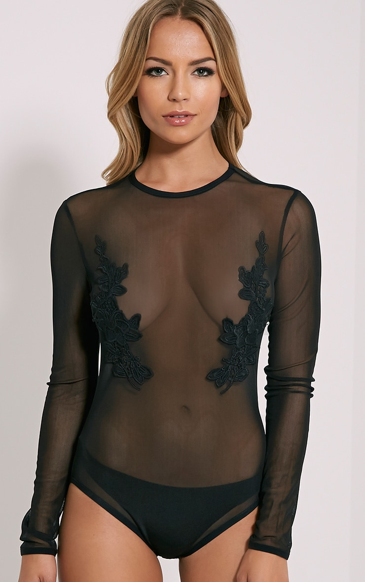 Tia Black Crochet Lace Applique Bodysuit 5
