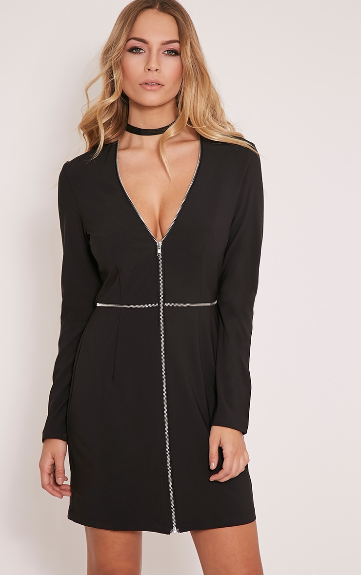 Charlene Black Zip Detail Bodycon Dress 1