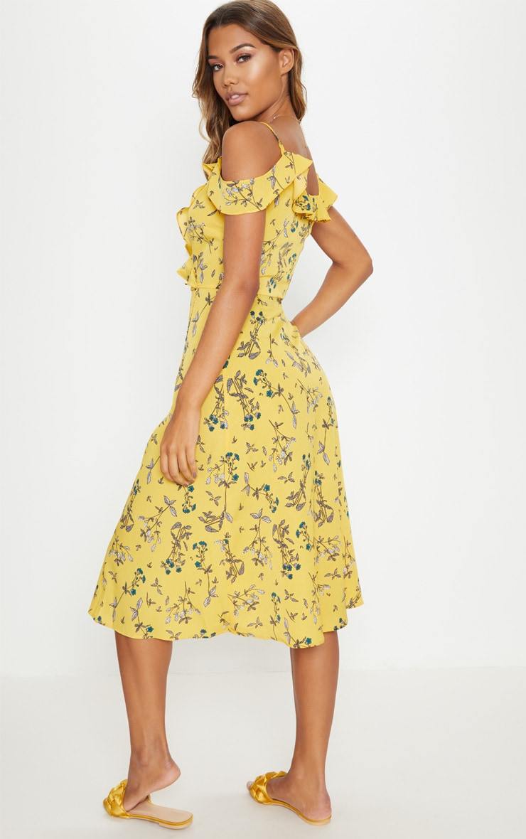 Yellow Floral Cold Shoulder Frill Detail Midi Dress 2