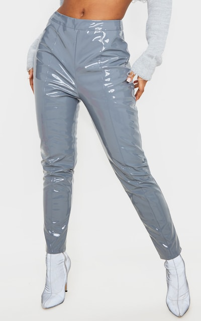 Grey Vinyl High Waist Skinny Trousers