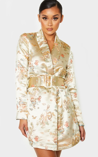 Champagne Floral Jacquard Belted Blazer Dress