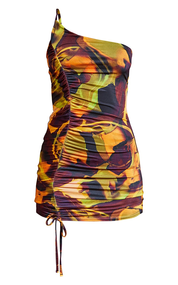 Multi Abstract Print Slinky One Shoulder Ruched Spaghetti Strap Bodycon Dress 5