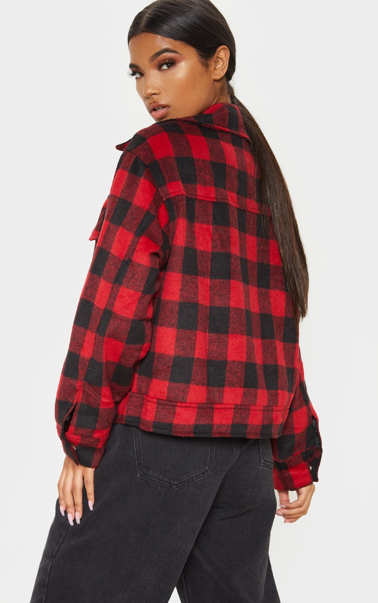 Red Check Print Trucker 2