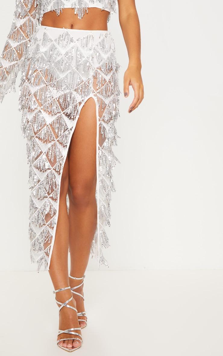Silver Tassel Sequin Extreme Split Midaxi Skirt 2