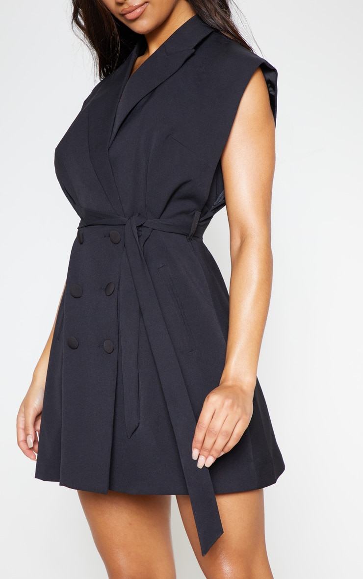 Black Tie Waist Sleeveless Blazer Dress 6