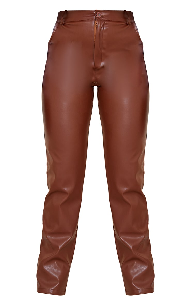 Chocolate Faux Leather Straight Leg Pants 5
