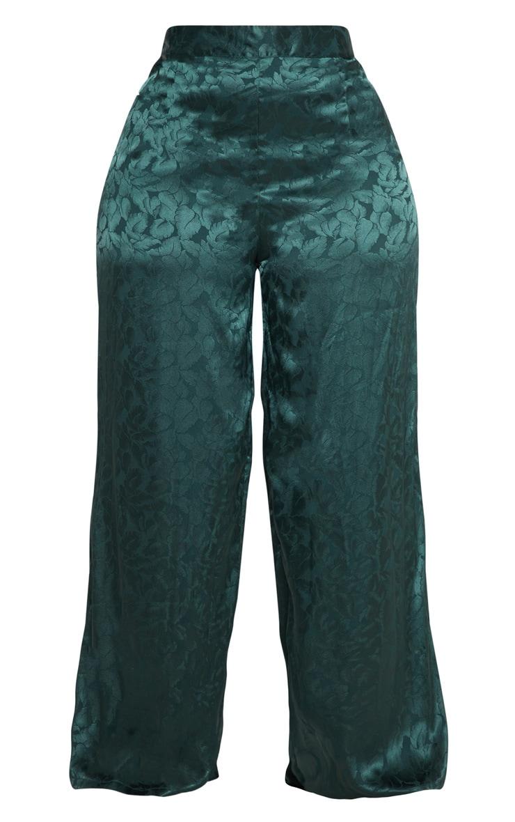 Plus Emerald Green Satin Jacquard Wide Leg Trouser 3