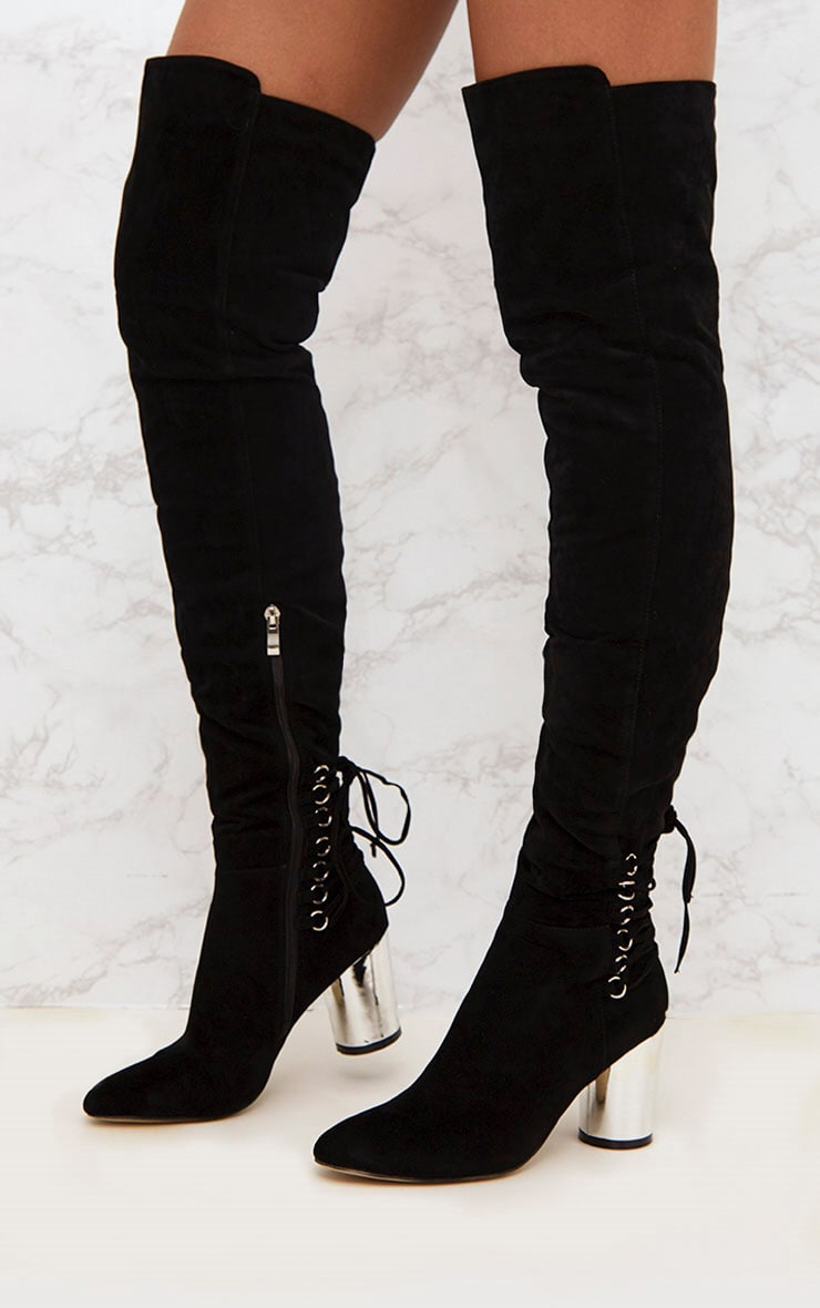 Black Lace Up Detail Faux Suede Thigh High Boots 2