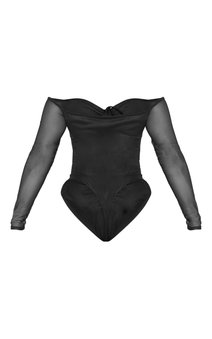 Shape Black Mesh Long Sleeve Ruched Bodysuit 6
