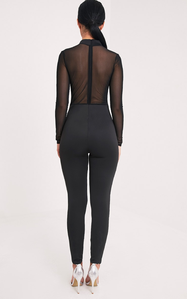 Whitney Black Mesh Scuba Jumpsuit  2