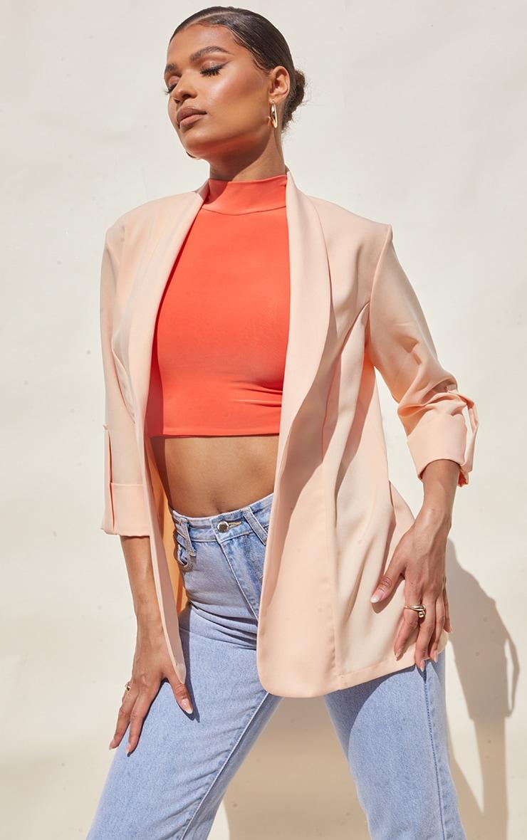 Peach Woven Turn Up Sleeve Blazer 3