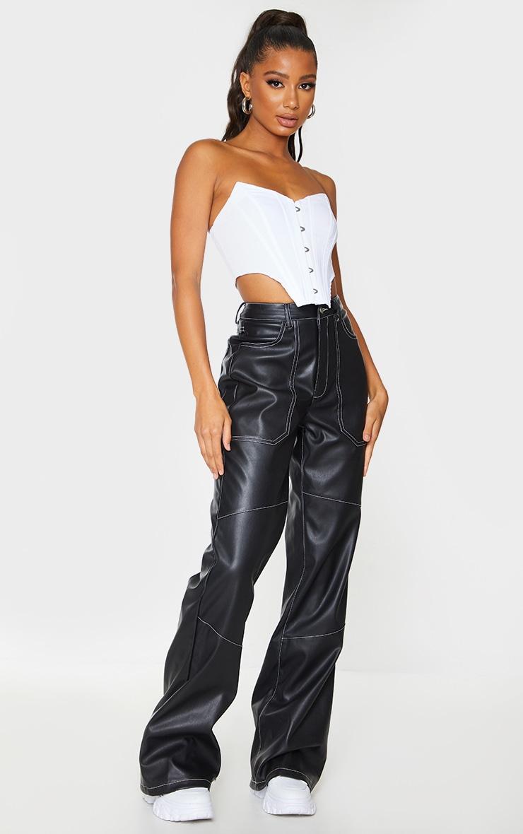 Black Faux Leather Seam Extreme Wide Leg Pants 1