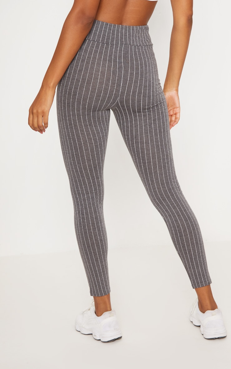 Grey Pinstripe High Waisted Legging  4