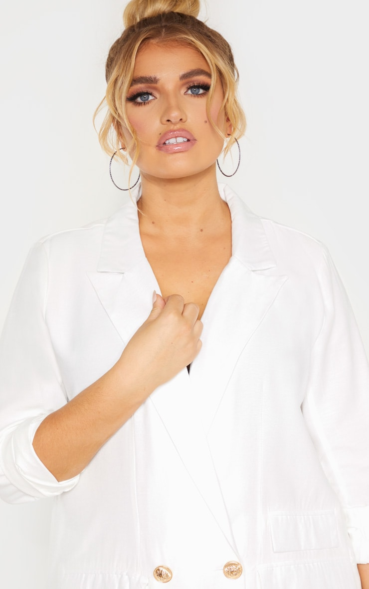 Plus White Woven Gold Button Oversized Blazer  5