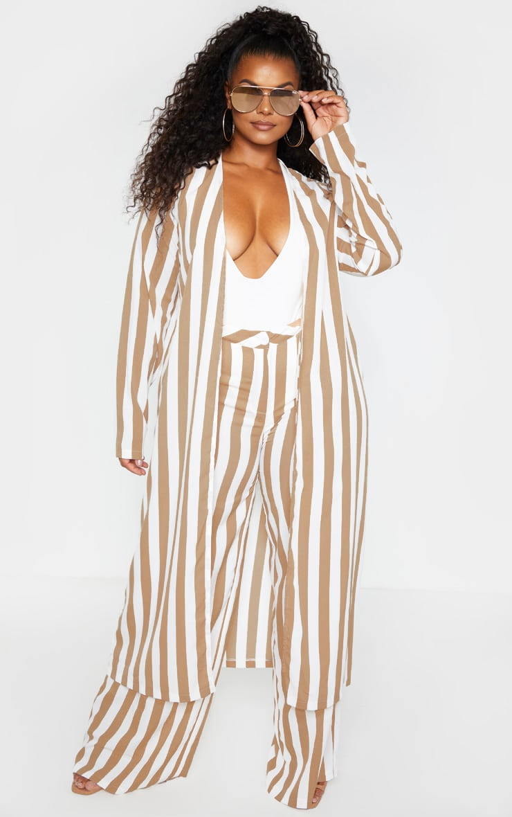 Plus Stone Striped Longline Duster Jacket 1