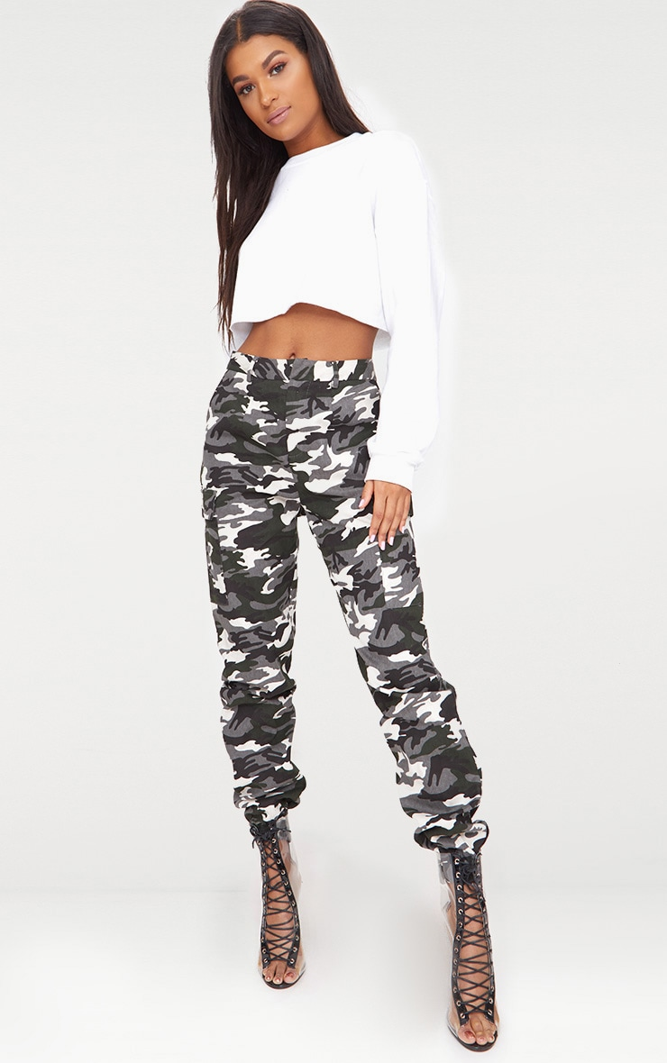 Grey Camo Print Cargo Trousers