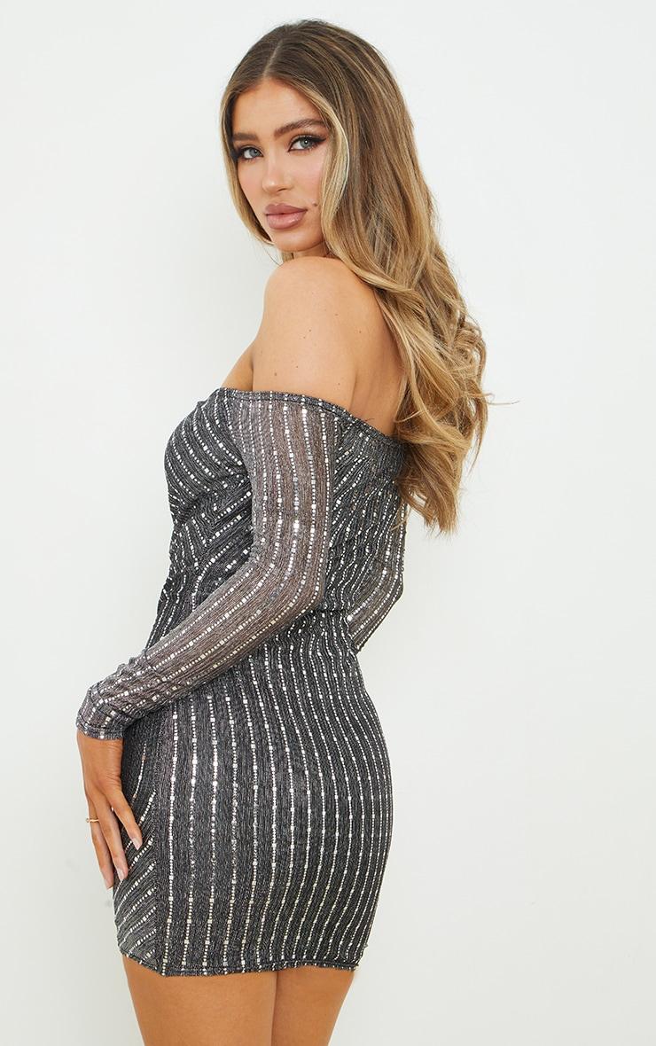 Black Glitter Mesh Ruched Bardot Bodycon Dress 2