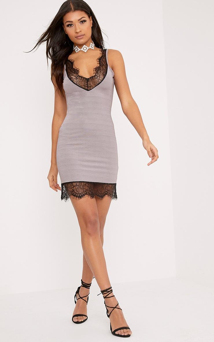 Claudiana Mauve Lace Trim Slip Dress 4