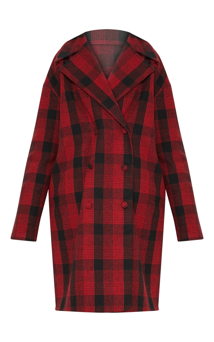 Red Checked Oversized Coat 3