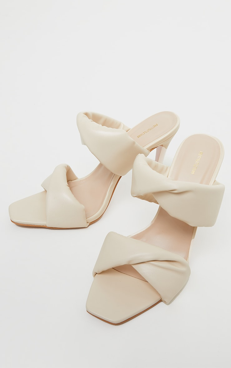 Cream Square Toe Padded Twin Strap High Heel Mules 3