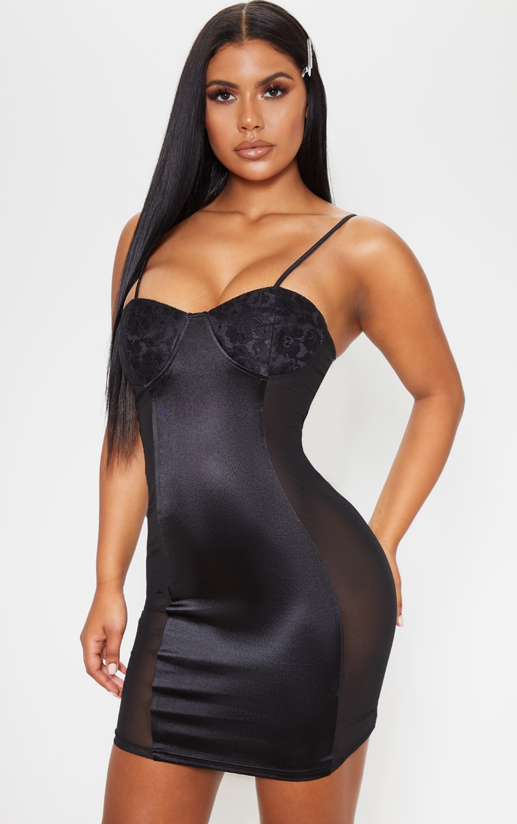 Black Lace Cup Satin Mesh Insert Bodycon Dress 1