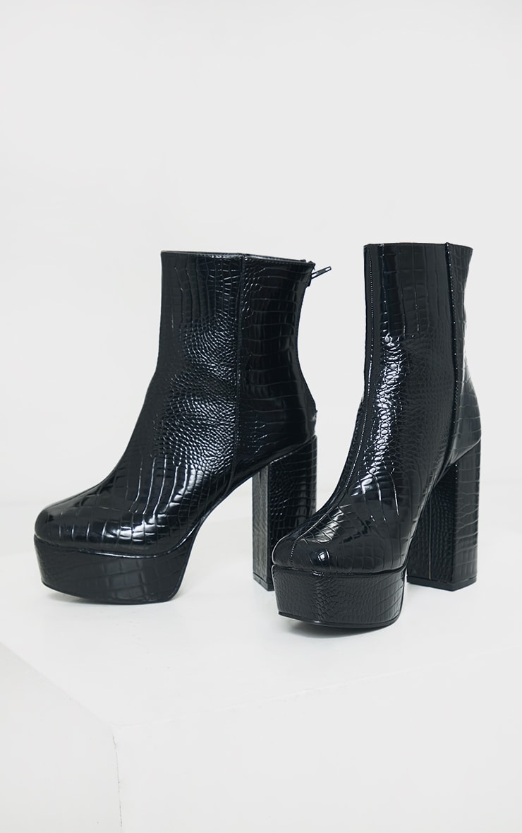 Black Croc Pu Extreme Platform Ankle Boot 3