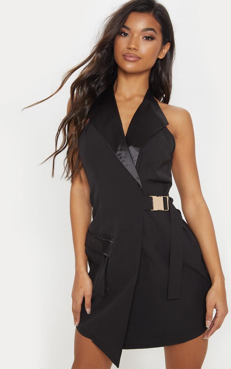 Black Satin Lapel Halterneck Blazer Dress 4
