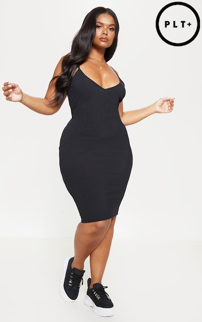 6a0f5a6418 Plus Black Ribbed Plunge Midi Dress