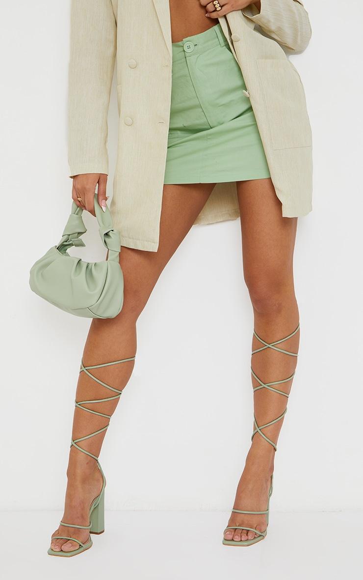 Sage Green Delicate Strap Block Heel Ankle Tie Sandal 2