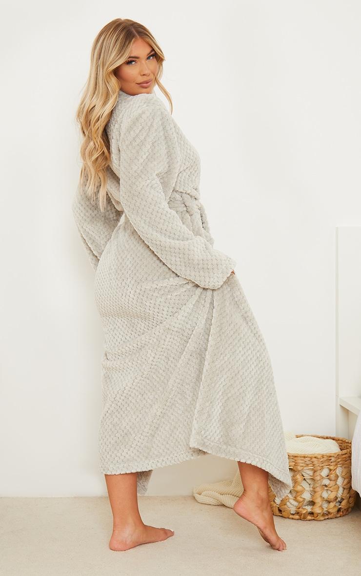 Light Grey Textured Fluffy Longline Dressing Gown 2