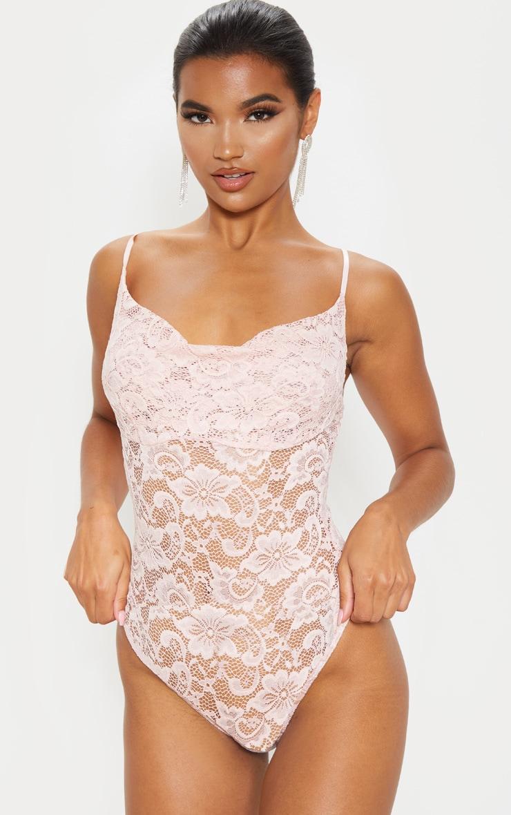 Dusty Rose Lace Cowl Neck Bodysuit  2